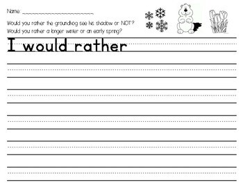 Groundhogs Day Writing Center - Would you rather have winter or spring?