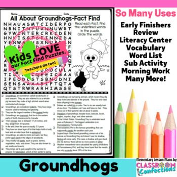 Groundhogs: All About Groundhogs Reading and Word Search Activity