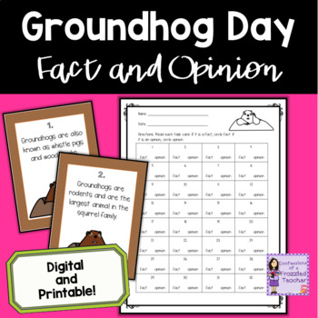 Groundhogs Fact and Opinion Task Cards