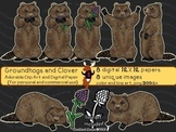 Groundhogs and Clover ~ clip art and digital paper