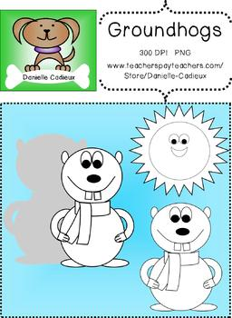 Groundhogs with scarves Clip Art