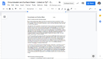 Groundwater & Surface Water - Google Doc Reading Passage with Questions