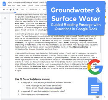 Groundwater & Surface Water - Guided Reading & Diagram created with Google Docs