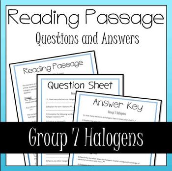 Group 7 Halogens Periodic Table Reading and Questions