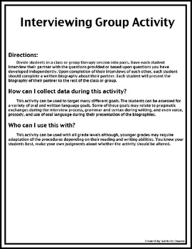 Group Activity FREEBIE - Interviewing a Partner