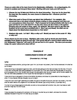 Group Activity - Hammurabi's Code of Law