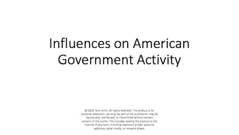 Group Activity: Influences on American Government