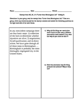 """Group Activity on Semicolons using MLK Jr.'s """"Letter From Birmingham Jail"""""""