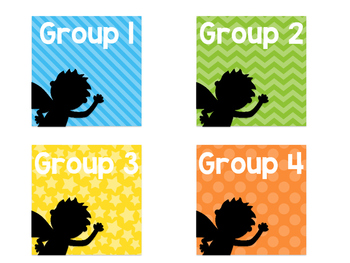 Group Bin Labels-Superhero Rainbow Silhouette Edition