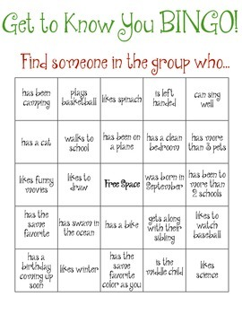 Group bingo ice breaker by creative clinical social worker for Ice breaker bingo template