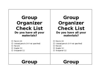 Group Caddy Checklist