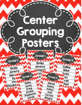 Group Center Signs Red Chevron (editable)