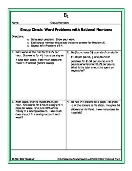 Group Check: Multi-Step Word Problems with Rational Numbers