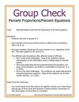 Group Check: Percent Applications - Percent Proportions/Percent Equations