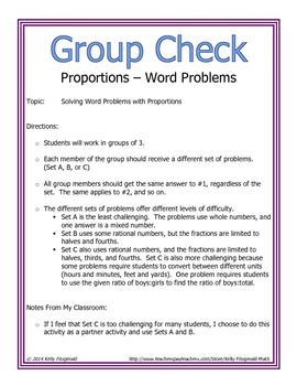 Group Check: Proportions - Word Problems