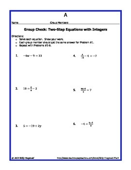 Group Check: Two-Step Equations with Integers