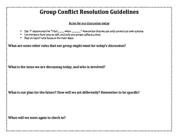 Group Conflict Resolution Guidelines