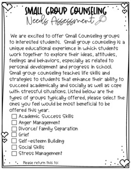 Group Counseling Needs Assessment EDITABLE form