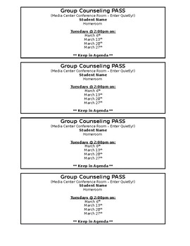 Group Counseling Pass - Editable