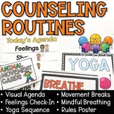 Counseling Routines Movement Breaks, Breathing Posters, Visual Agenda, and More