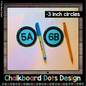 Group Desk Labels Chalkboard Dot Design