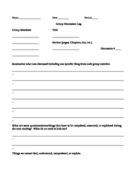 Group Discussion Log for Novel, Drama, Book Talks, Literature Circles