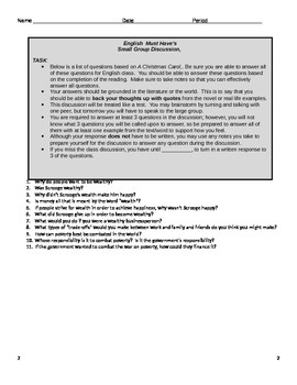 Group Discussion Questions and Oral Test for A Christmas Carol
