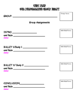 Cooperative Group Essay Role Cards and Organizer Lit Circles Test Writing