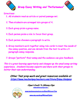 Cooperative Group Essay Role Cards and Organizer Lit Circl