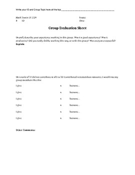 Group Evaluation Sheet - All Subjects