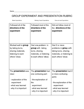 Group Experiment Rubric