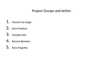 Group Famous Artist Project power point