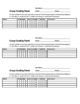 Group Grading Sheet