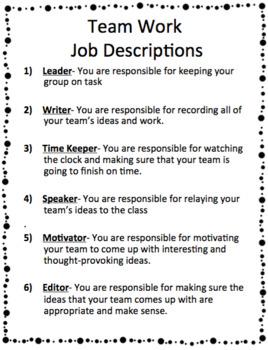 Group Job Descriptions