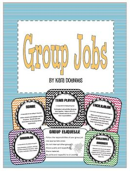 Group Jobs Signs  *FREEBIE*