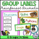 Reading Group Labels | Table Signs | Rainforest Animals