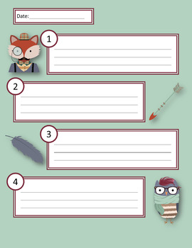 Group Lesson Assignment Sheets - Hipster Animals