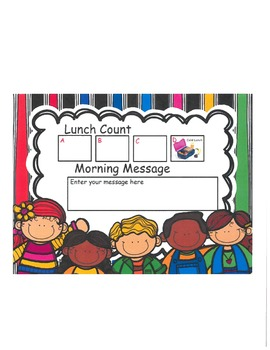 Group Lunch Count and Morning Message