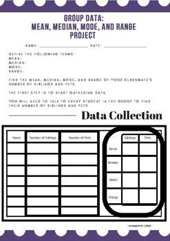 part of Group Math Project: Mean, Median, Mode, Range sample