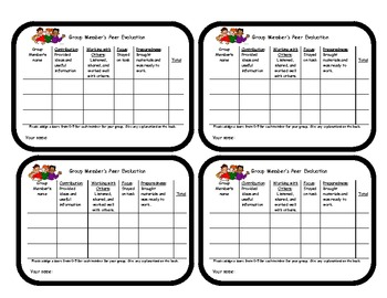 Group Members' Evaluation Card/Rubric