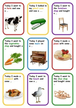 "FREE Categories Memory Card Game ""Today I Went ..."""