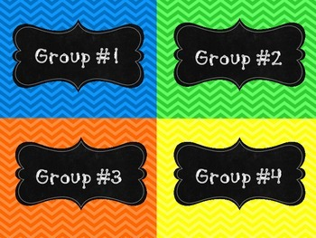 Group Number Signs (Chevron)  Back To School