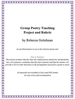 Group Poetry Teaching Project and Rubric