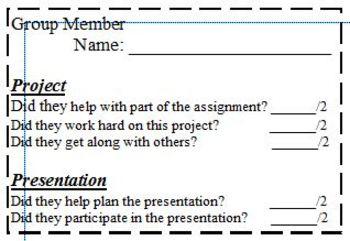 Group Presentation Peer Evaluation Rubric