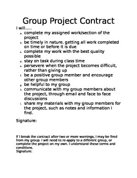 Group Project Individual Contract