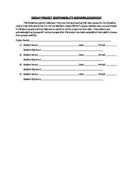 Group Project Responsibility Agreement