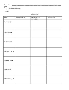 Group Project Task Matrix