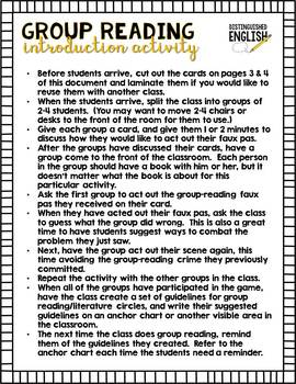 Literature Circles Introduction Game
