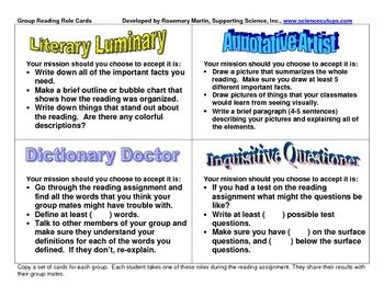 Group Reading Role Cards
