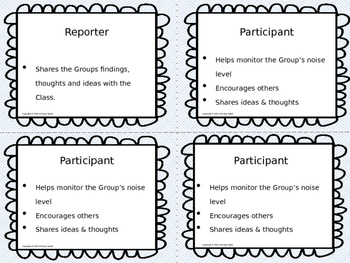 Group Roles and Responsibilties Task Cards